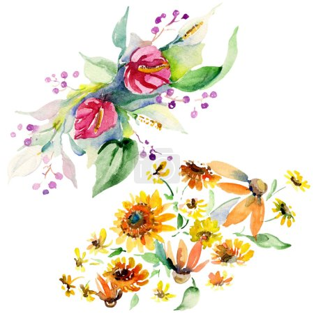 Photo for Red, yellow and orange floral botanical flower bouquets. Wild spring leaf isolated. Watercolor background set. Watercolour drawing fashion aquarelle. Isolated bouquet illustration element. - Royalty Free Image