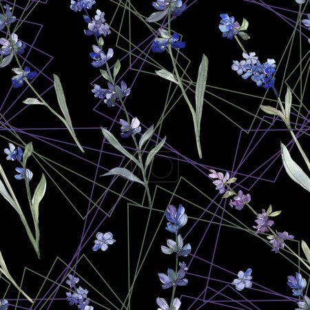 Photo for Purple lavender botanical flower. Wild spring leaf wildflower. Watercolor illustration set. Watercolour drawing fashion aquarelle isolated. Seamless background pattern. Fabric wallpaper print texture. - Royalty Free Image
