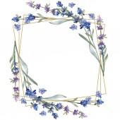 """Постер, картина, фотообои """"Фиолетовый лаванды. Ботанический цветочные цветок. Дикие весны листьев Уайлдфлауэр изолированы. Акварель фон иллюстрации набора. Акварель рисования моды акварель изолированы. Площадь орнамент границы кадра."""""""