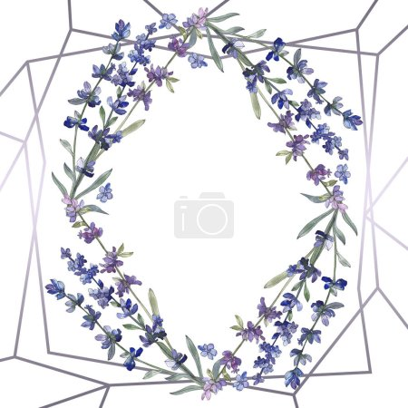 Photo for Purple lavender. Floral botanical flower. Wild spring leaf wildflower isolated. Watercolor background illustration set. Watercolour drawing fashion aquarelle isolated. Frame border ornament square. - Royalty Free Image