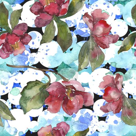 Red and purple camellia flowers. Watercolor illustration set. Seamless background pattern. Fabric wallpaper print texture.
