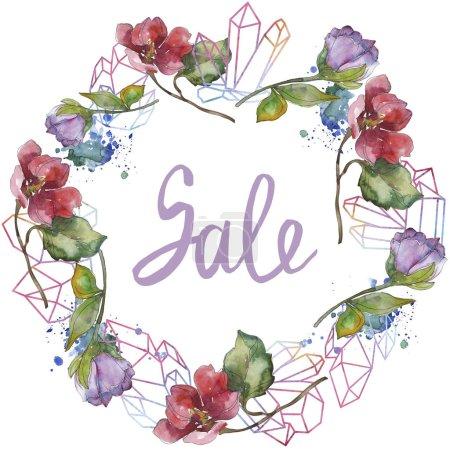 Photo pour Fleurs de camélia rouge et violet. Ensemble d'illustration de fond aquarelle. Cadre bordure ornement avec inscription de vente . - image libre de droit