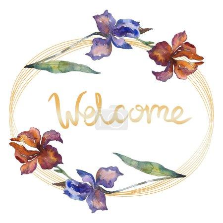 Purplr ahd czerwony irysów botanicznych kwiat kwiatowy. Wildflower liść wiosna dzikiego. Zestaw ilustracji tle akwarela. Akwarela rysunku aquarelle moda na białym tle. Ramki granicznej ornament square.