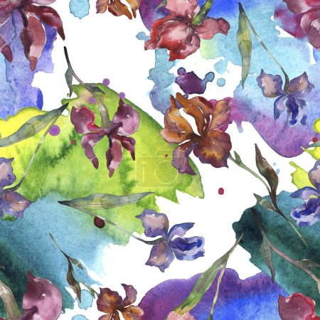 Photo for Purplr ahd red irises flower. Wild spring leaf wildflower. Watercolor illustration set. Watercolour drawing fashion aquarelle isolated. Seamless background pattern. Fabric wallpaper print texture. - Royalty Free Image