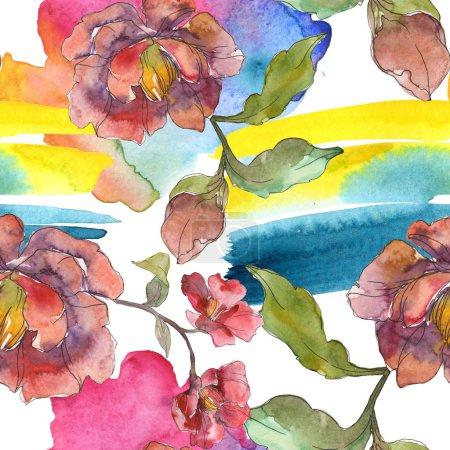 Peonías rojas conjunto de ilustración de acuarela. Patrón de fondo sin costuras. Textura de impresión de papel pintado de tela .