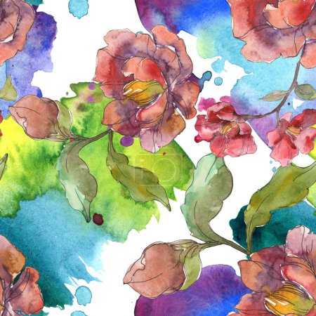 Photo for Red peonies watercolor illustration set. Seamless background pattern. Fabric wallpaper print texture. - Royalty Free Image
