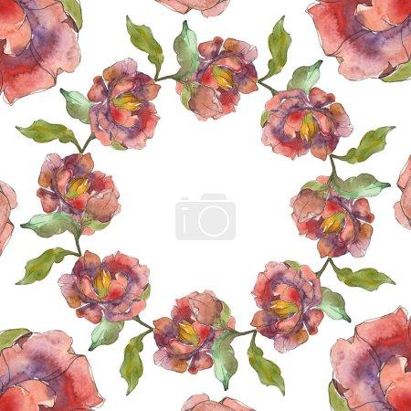 Photo pour Rouge isolé sur pivoines blanches aquarelle fond illustration ensemble. Cadre bordure ornement avec espace de copie . - image libre de droit