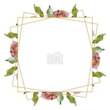 Photo for Red isolated on white peonies watercolor background illustration set. Frame border ornament with copy space. - Royalty Free Image