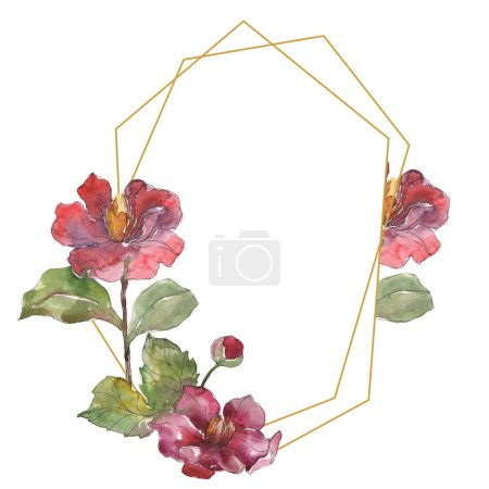 Red isolated on white peonies watercolor background illustration set. Frame border ornament with copy space.