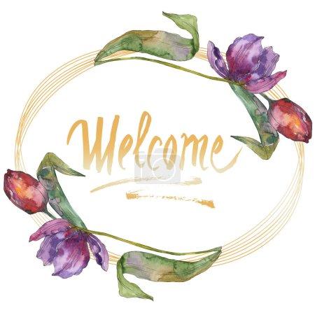 Photo pour Fleurs de botanique floral tulipe pourpre. Wildflower de feuille de printemps sauvage isolé. Aquarelle de fond illustration ensemble. Aquarelle de mode dessin aquarelle isolé. Place de cadre bordure ornement - image libre de droit