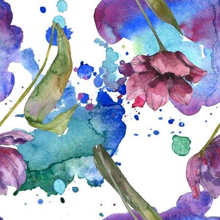 Photo pour Fleurs de botanique floral tulipe pourpre. Feuille de printemps sauvage isolé. Illustration aquarelle ensemble. Dessin aquarelle de mode aquarelle. Motif de fond transparente. Impression texture de tissu papier peint - image libre de droit