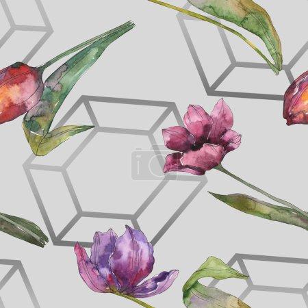 Foto de Flores botánicas florales tulipán púrpura. Hoja de primavera salvaje aislada. Conjunto de ilustración acuarela. Aquarelle de moda dibujo de acuarela. Patrón de fondo transparente. Textura impresión de papel pintado de tela - Imagen libre de derechos