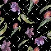 Постер Фиолетовый тюльпан цветочный Ботанический цветы