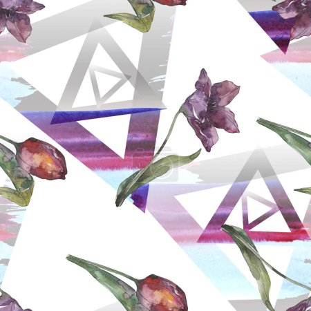 Photo for Purple tulip floral botanical flowers. Wild spring leaf isolated. Watercolor illustration set. Watercolour drawing fashion aquarelle. Seamless background pattern. Fabric wallpaper print texture. - Royalty Free Image
