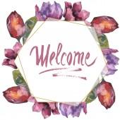 """Постер, картина, фотообои """"Фиолетовый тюльпан цветочные ботанического цветы. Дикие весны листьев Уайлдфлауэр изолированы. Акварель фон иллюстрации набора. Акварель рисования моды акварель изолированы. Площадь орнамент границы кадра."""""""