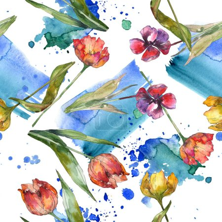 Foto de Tulipanes con hojas verdes y fondo abstracto sin fisuras. Textura impresión del papel pintado de la tela. Conjunto de ilustración acuarela - Imagen libre de derechos
