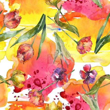 Photo for Tulips with green leaves and abstract pattern seamless background. Fabric wallpaper print texture. Watercolor illustration set. - Royalty Free Image