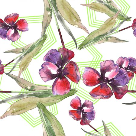 Foto de Isolated tulips with green leaves seamless background pattern. Fabric wallpaper print texture. Watercolor illustration set. - Imagen libre de derechos