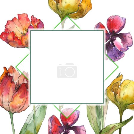 Photo for Yellow and red tulips watercolor background illustration set. Frame border ornament with copy space. - Royalty Free Image