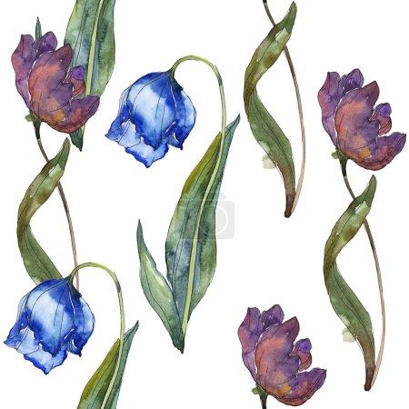 Foto de Conjunto de ilustración acuarela de tulipanes color púrpura y azul. Patrón de fondo transparente. Textura impresión de papel pintado de tela - Imagen libre de derechos