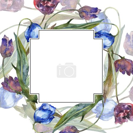 Photo for Purple and blue tulips watercolor background illustration set. Frame border ornament with copy space. - Royalty Free Image
