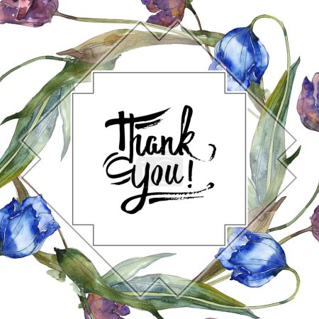Photo for Purple and blue tulips. Watercolor background illustration set. Frame border ornament with inscription. - Royalty Free Image