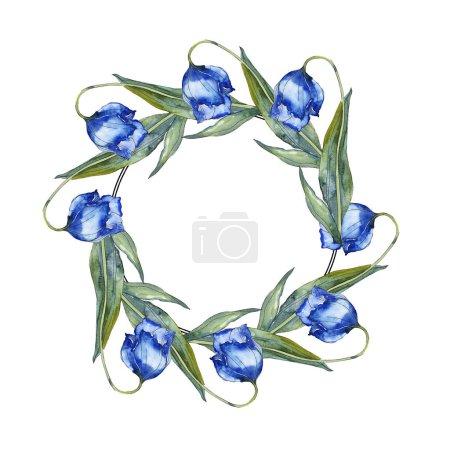 Foto de Conjunto de ilustración de fondo acuarela tulipanes color púrpura y azul. Ornamento de la frontera del marco con espacio de copia. - Imagen libre de derechos