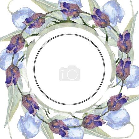 Photo pour Ensemble d'illustration de fond aquarelle tulipes violet et bleu. Cadre bordure ornement avec espace de copie . - image libre de droit
