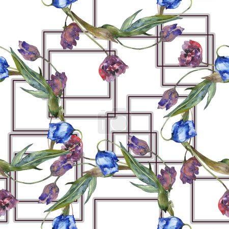 Foto de Conjunto de ilustración acuarela de tulipanes color púrpura y azul. Patrón de fondo transparente. Textura impresión de papel pintado de tela. - Imagen libre de derechos