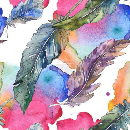 Vogelfeder vom Flügel isoliert. Aquarell Hintergrundillustration Set. Aquarellzeichnung Modeaquarell isoliert. nahtlose Hintergrundmuster. Stoff Tapete drucken Textur.