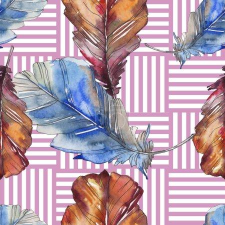 Foto de Pluma de pájaro de ala aislado. Conjunto de ilustración de fondo de acuarela. Acuarela dibujo moda aquarelle aislado. Patrón de fondo transparente. Textura impresión de papel pintado de tela. - Imagen libre de derechos