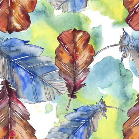 Photo for Bird feather from wing isolated. Watercolor background illustration set. Watercolour drawing fashion aquarelle isolated. Seamless background pattern. Fabric wallpaper print texture. - Royalty Free Image