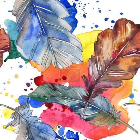Plume d'oiseau de l'aile isolée. Ensemble d'illustration de fond aquarelle. Aquarelle dessin mode aquarelle isolé. Modèle de fond sans couture. Texture d'impression papier peint tissu .