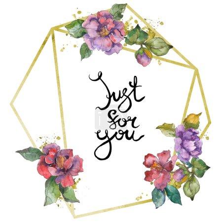 Photo pour Fleurs de camélia rouge et violet. Ensemble d'illustration de fond aquarelle. Cadre bordure ornement avec inscription . - image libre de droit