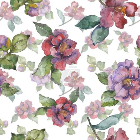 Photo for Red and purple camellia flowers. Watercolor illustration set. Seamless background pattern. Fabric wallpaper print texture. - Royalty Free Image