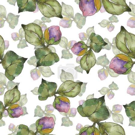Foto de Flores de Camelia roja y púrpura. Conjunto de ilustración acuarela. Patrón de fondo transparente. Textura impresión de papel pintado de tela. - Imagen libre de derechos