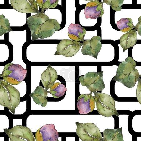 Photo pour Fleurs de camélia rouge et violet. Ensemble d'illustration aquarelle. Modèle de fond sans couture. Texture d'impression papier peint tissu . - image libre de droit