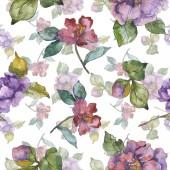 """Постер, картина, фотообои """"Красный и фиолетовый камелии цветы. Набор акварели иллюстрации. Бесшовный фон узор. Обои для рабочего стола ткань печати текстуры."""""""