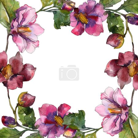 Photo for Red and purple camellia flowers. Watercolor background illustration set. Frame border ornament with copy space. - Royalty Free Image