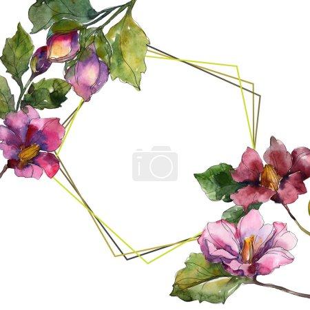 Photo pour Fleurs de camélia rouge et violet. Aquarelle de fond illustration ensemble. Ornement de bordure cadre avec espace copie. - image libre de droit