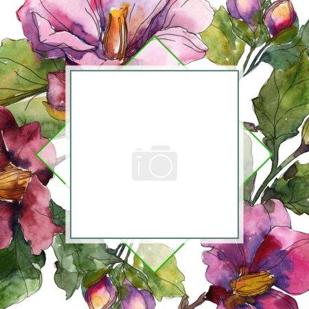 Photo pour Fleurs de camélia rouge et violet. Ensemble d'illustration de fond aquarelle. Cadre bordure ornement avec espace de copie . - image libre de droit