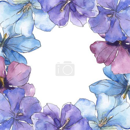 Photo pour Lin violet bleu. Fleur botanique floral. Wildflower de feuille de printemps sauvage isolé. Aquarelle de fond illustration ensemble. Aquarelle de mode dessin aquarelle isolé. Place de cadre bordure ornement. - image libre de droit