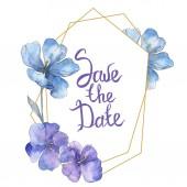 """Постер, картина, фотообои """"Фиолетовый синий лен. Ботанический цветочные цветок. Дикие весны листьев Уайлдфлауэр изолированы. Акварель фон иллюстрации набора. Акварель рисования моды акварель изолированы. Площадь орнамент границы кадра."""""""