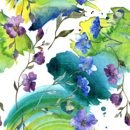 Photo for Blue purple flax floral botanical flower. Wild spring leaf isolated. Watercolor illustration set. Watercolour drawing fashion aquarelle. Seamless background pattern. Fabric wallpaper print texture. - Royalty Free Image