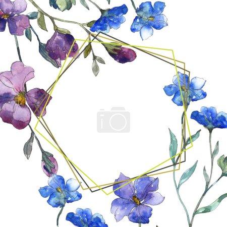 Photo pour Bleu violet lin botanique fleur floral. Wildflower de feuille de printemps sauvage isolé. Aquarelle de fond illustration ensemble. Aquarelle de mode dessin aquarelle isolé. Place de cadre bordure ornement. - image libre de droit
