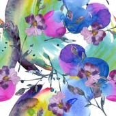 """Постер, картина, фотообои """"Синий фиолетовый льна цветочные ботанические цветок. Дикие весны листьев изолированы. Набор акварели иллюстрации. Рисования акварелью моды акварель. Бесшовный фон узор. Обои для рабочего стола ткань печати текстуры."""""""