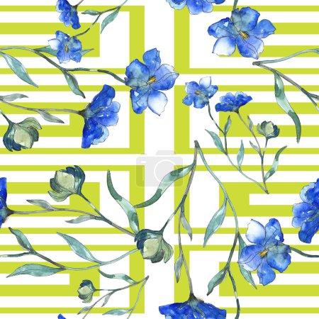 Photo pour Bleu violet lin botanique fleur floral. Feuille de printemps sauvage isolé. Illustration aquarelle ensemble. Dessin aquarelle de mode aquarelle. Motif de fond transparente. Impression texture de tissu papier peint. - image libre de droit