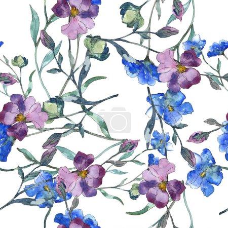 Photo pour Fleur botanique florale de lin violet bleu. Feuille de printemps sauvage isolée. Ensemble d'illustration aquarelle. Aquarelle dessin mode aquarelle. Modèle de fond sans couture. Texture d'impression papier peint tissu . - image libre de droit