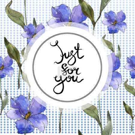 Photo for Blue purple flax floral botanical flower. Wild spring leaf wildflower isolated. Watercolor background illustration set. Watercolour drawing fashion aquarelle isolated. Frame border ornament square. - Royalty Free Image