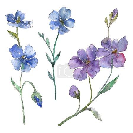 Foto de Azul y púrpura lino floral Botánica Flores. Wildflower de hoja de primavera salvaje aislado. Conjunto de ilustración de fondo de acuarela. Aquarelle de moda dibujo de acuarela. Elemento aislado ilustración lino. - Imagen libre de derechos